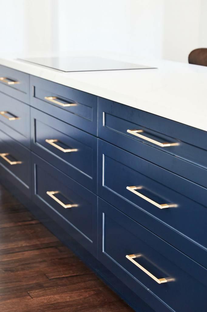 Beecroft blue and brass kitchen detail